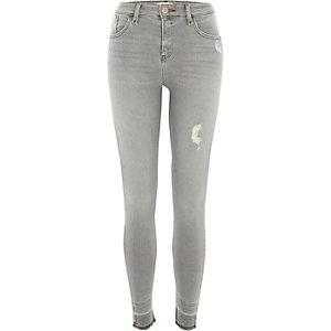 Amelie – Graue Superskinny Jeans im Used-Look