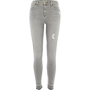 Amelie - Grijze distressed superskinny jeans