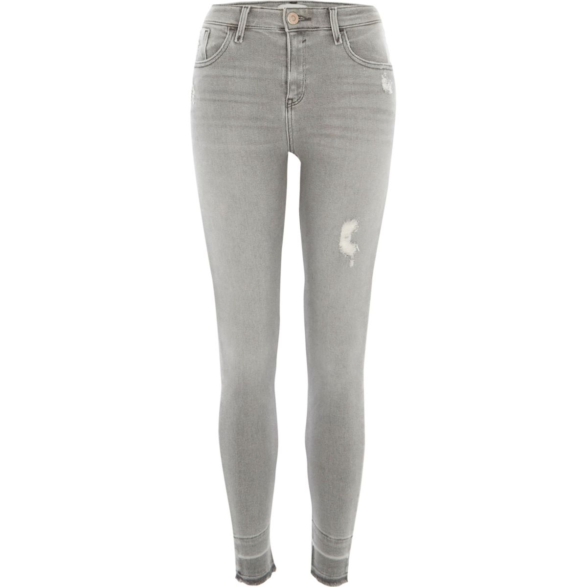 Grey Amelie distressed super skinny jeans