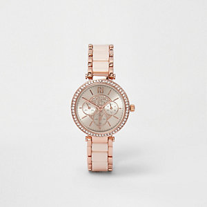 Rose gold tone diamante slim dinky watch