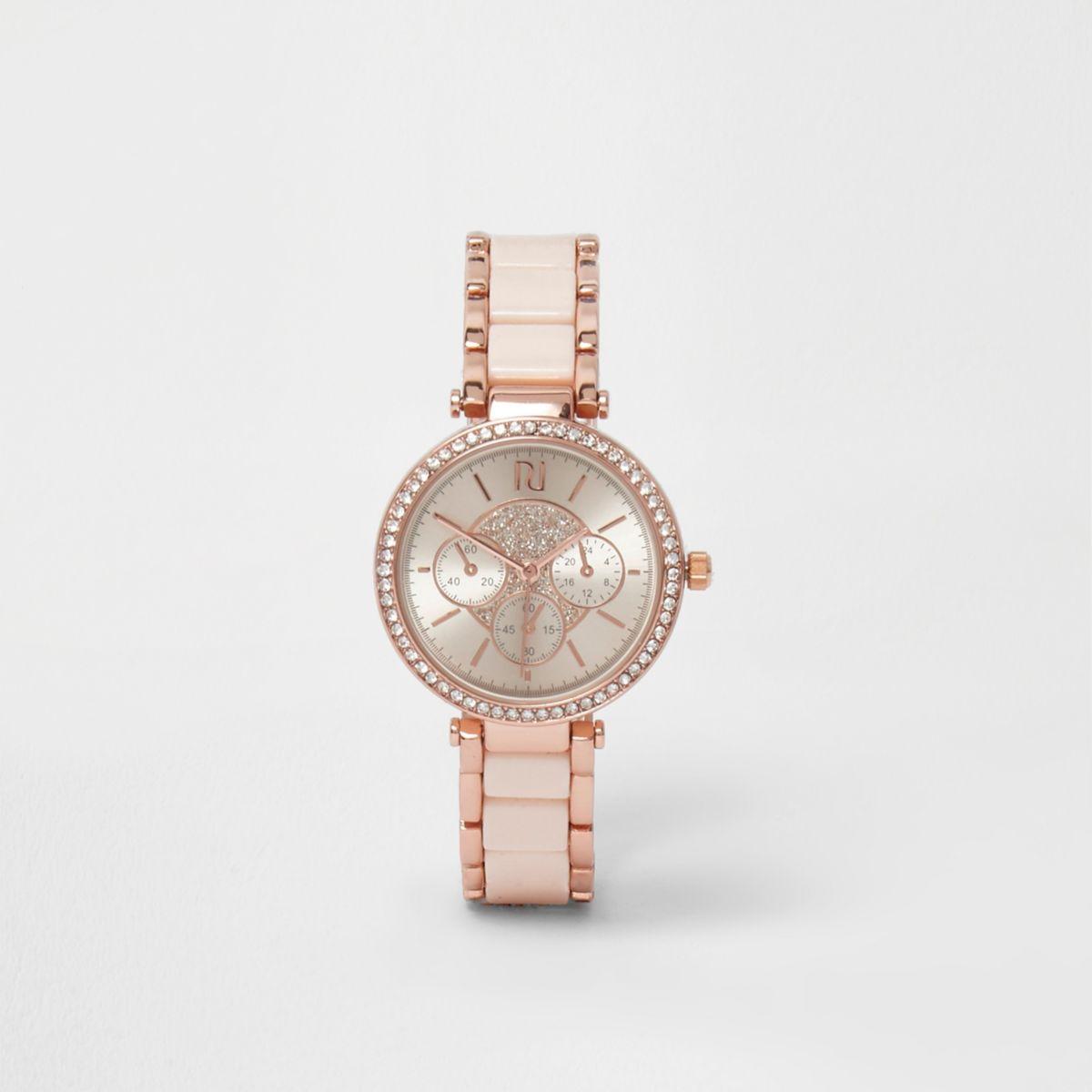 Rose gold tone rhinestone slim dinky watch