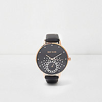Black diamante embellished watch