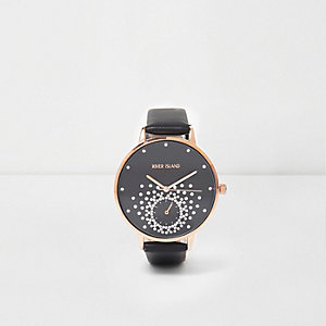Black rhinestone embellished watch