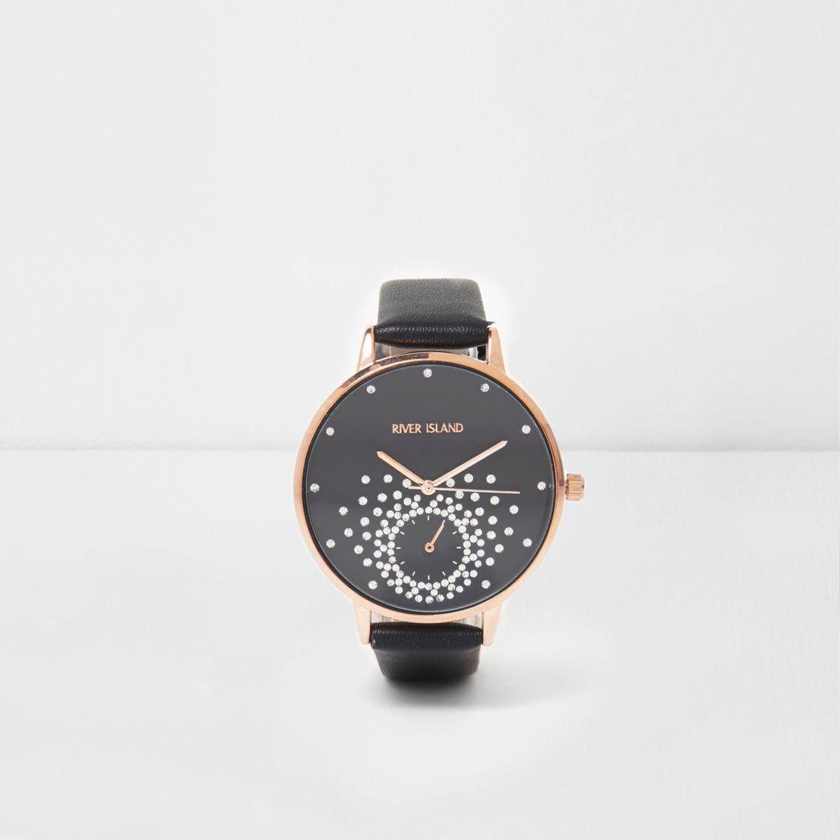 Black diamante embellished watch