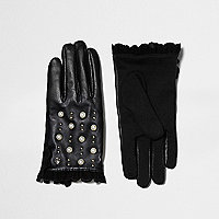 Black studded frill touch screen gloves