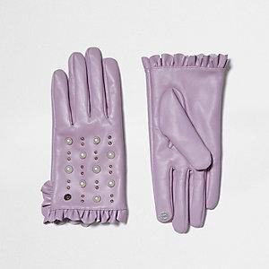 Lichtpaarse leren handschoenen met studs en ruches