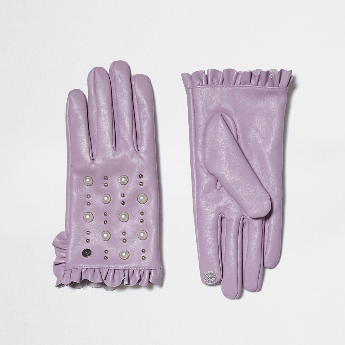 Light purple leather studded frill gloves