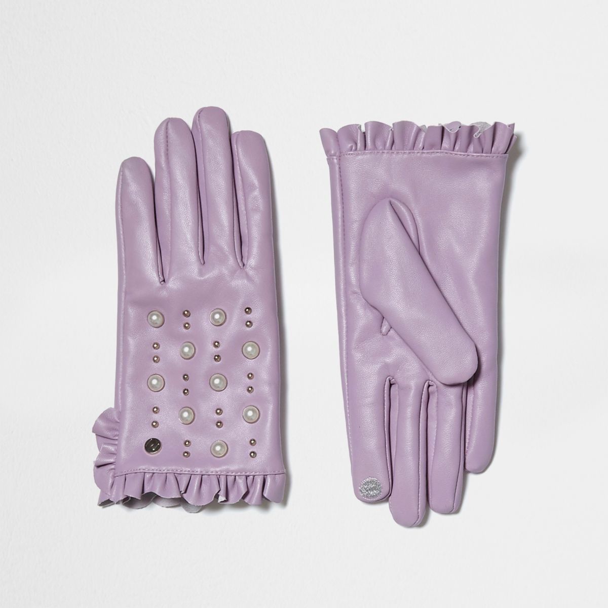 Light purple leather studded frill gloves