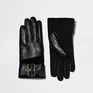 Black leather buckle faux fur lined gloves