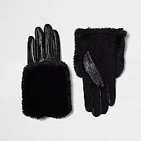 Black faux fur trim leather gloves