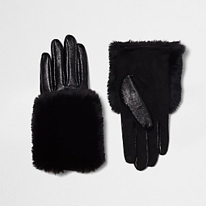 Black faux fur trim leather gloves