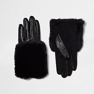 Zwarte leren handschoenen met rand van imitatiebont