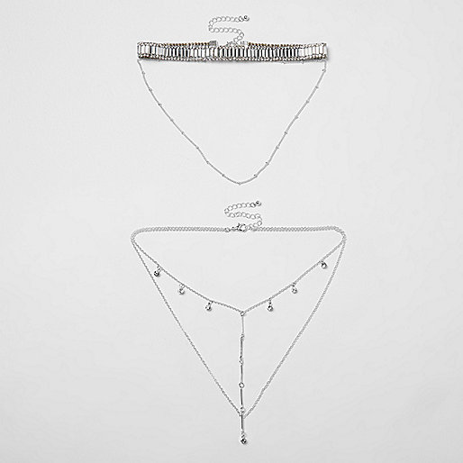 Silver tone diamante drop choker set