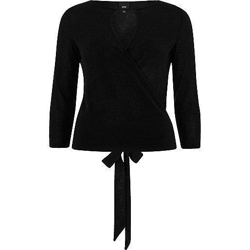 Black wrap keyhole front ballet top