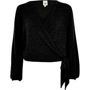 Black knit wrap ballet cardigan