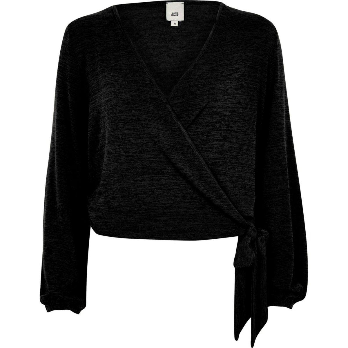 Black knit wrap ballet top
