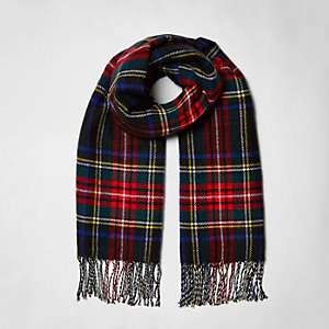 Black plaid check double sided scarf