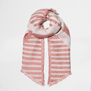 Pink mixed stripe jacquard knit scarf