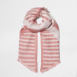 Roze jacquardgebreid sjaal met verschillende strepen