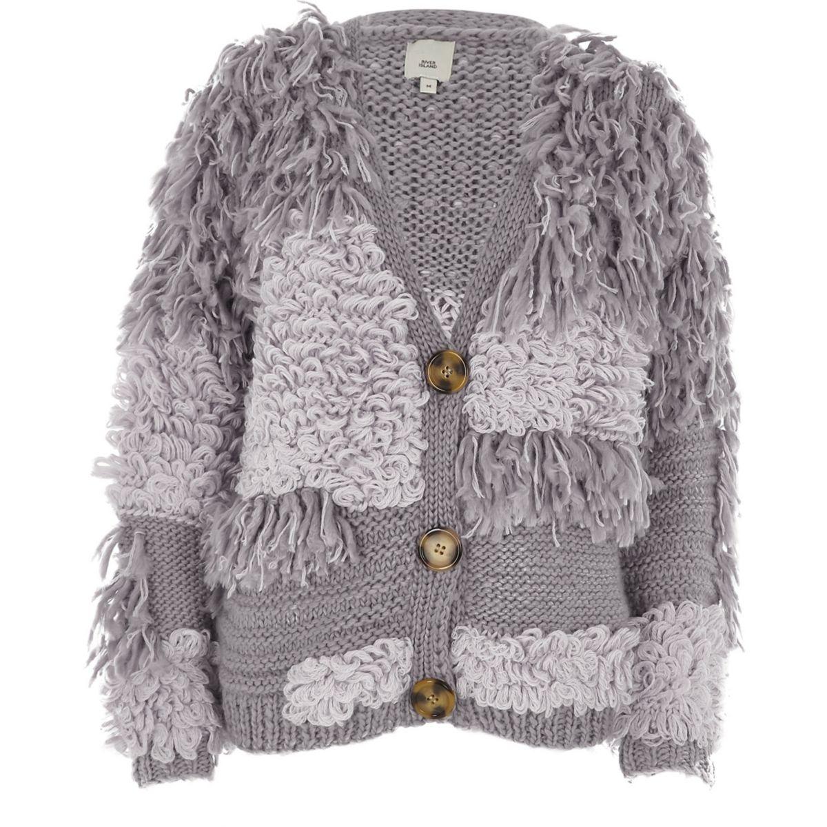 Cream loop stitch oversized chunky cardigan - Knitwear - Sale - women