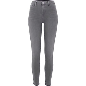 Molly – Jegging skinny délavage gris