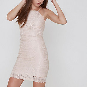 Petite light pink lace bodycon mini dress