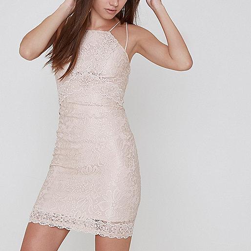 Petite light pink lace bodycon mini dress