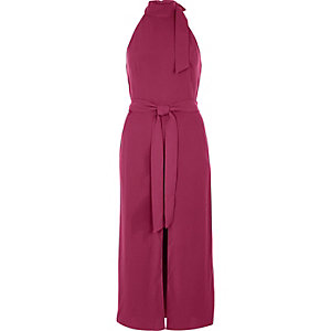 Dark pink sleeveless belted high neck dress