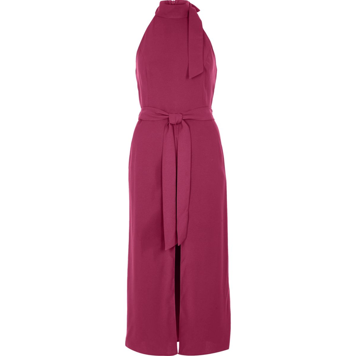 Dark pink sleeveless belted high neck dress