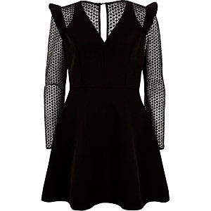 Black lace long sleeve frill skater dress