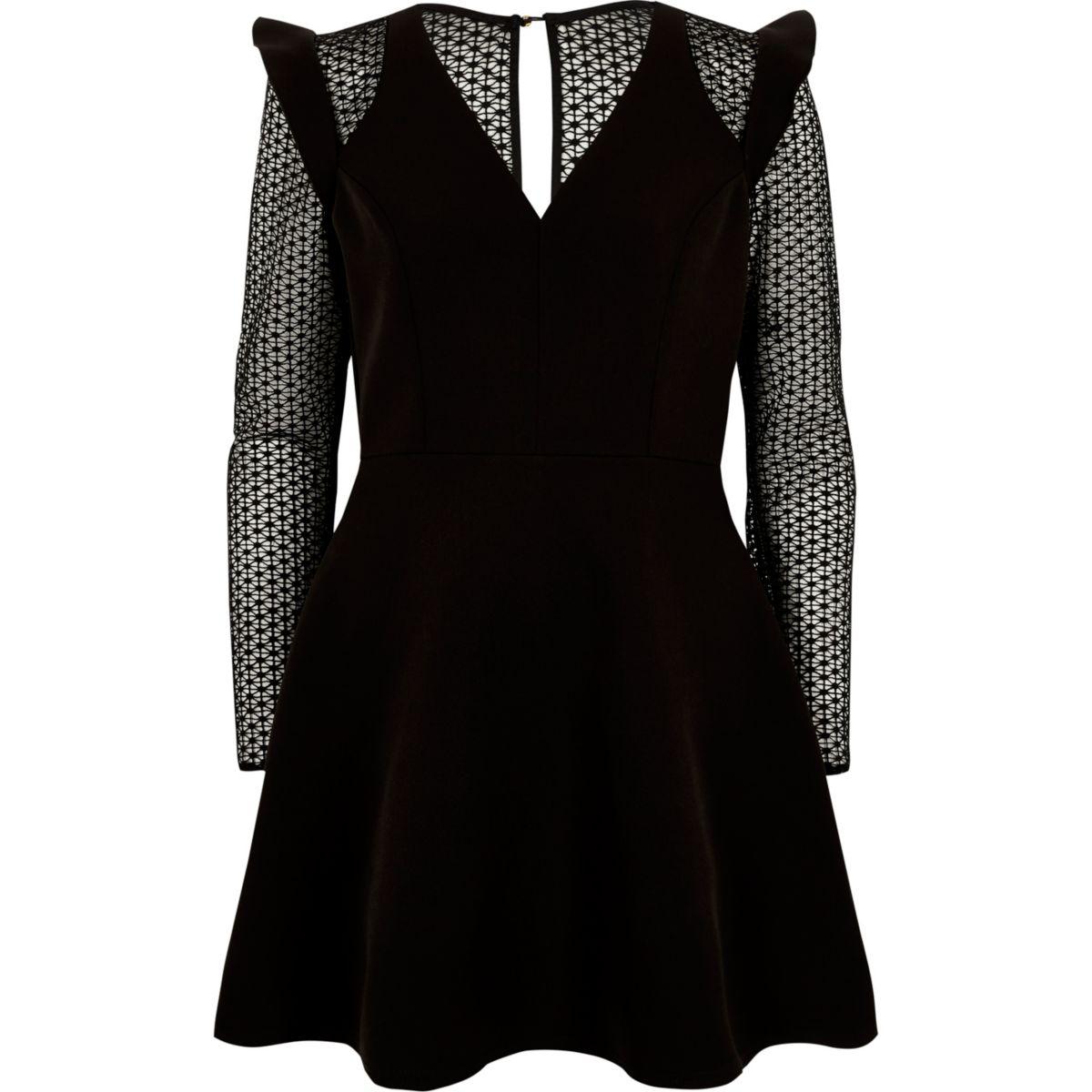 Black lace long sleeve frill skater dress