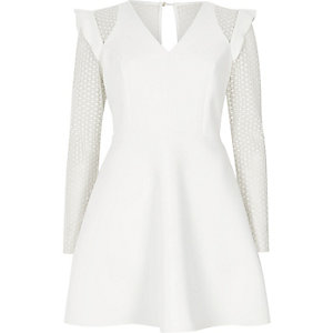 Cream lace insert frill skater dress