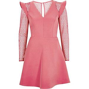 Blush pink lace insert frill skater dress