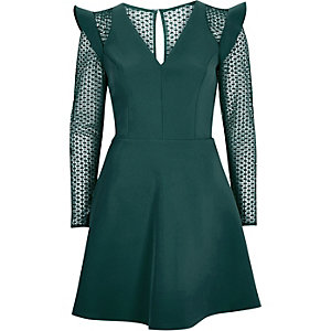 Dark green lace insert frill skater dress