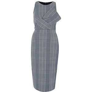 Grey check bow front bodycon dress