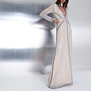 Beige verfraaide maxi-jurk met choker