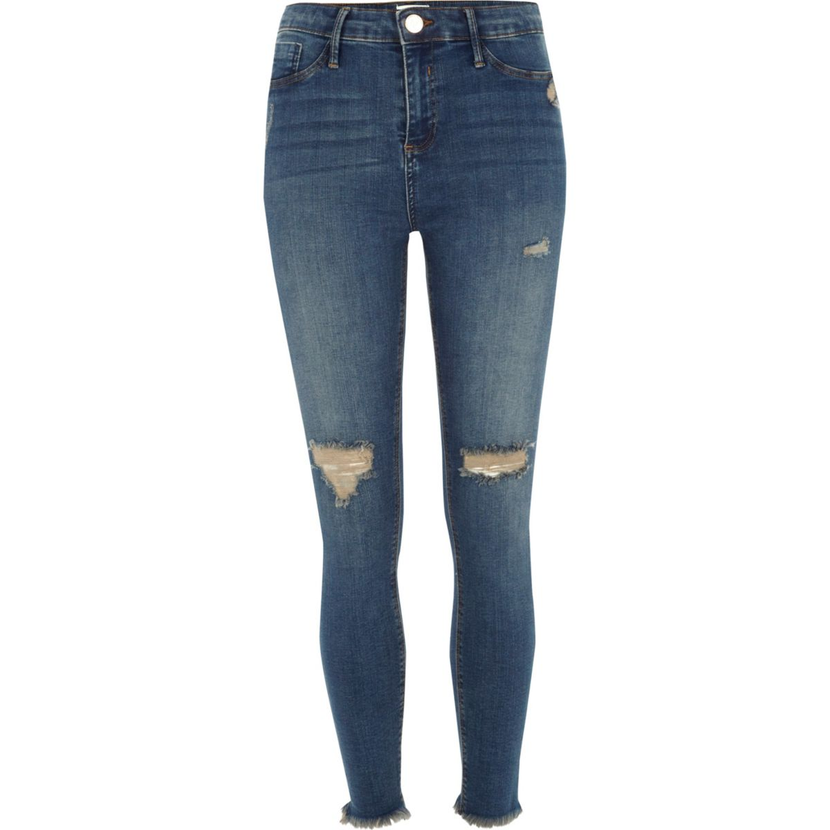 Mid blue Molly distressed frayed hem jeggings