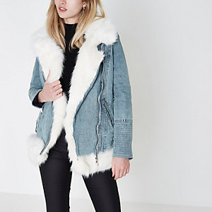 Light blue faux fur denim aviator jacket