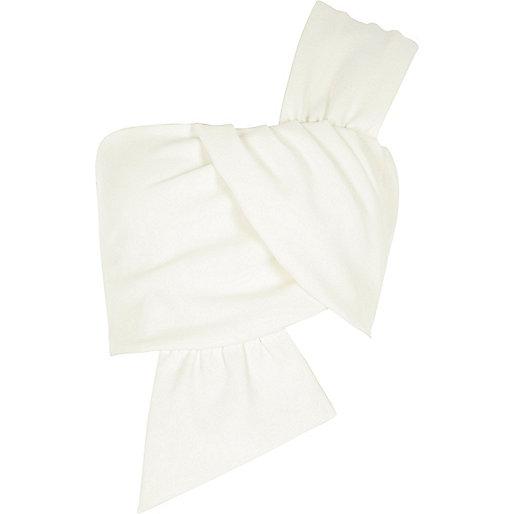 Cream one shoulder bow crop crop top