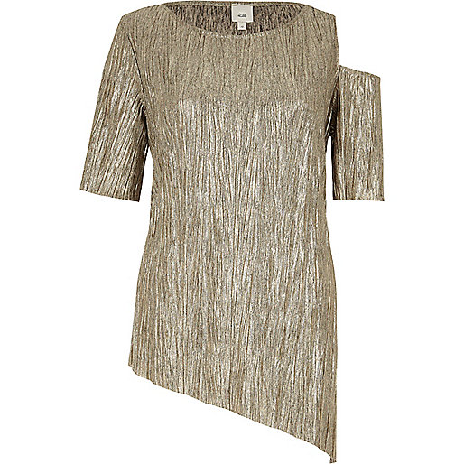 Gold asymmetric hem and cold shoulder T-shirt