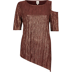 Bronze asymmetric hem and shoulder T-shirt