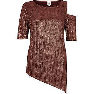 T-shirt bronze à encolure et ourlet asymétriques
