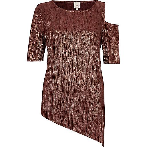 Bronze asymmetric hem and shoulder T-shirt