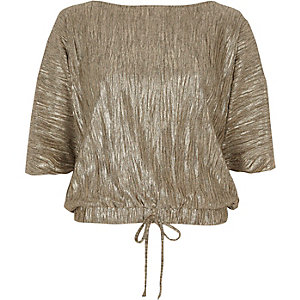 Gold metallic balloon hem tie T-shirt