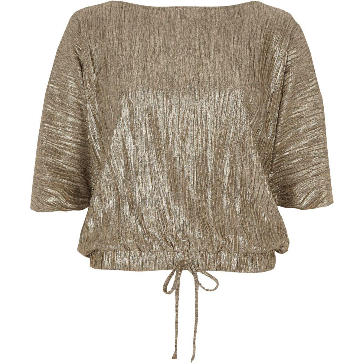 T-Shirt mit Ballonsaum in Gold-Metallic