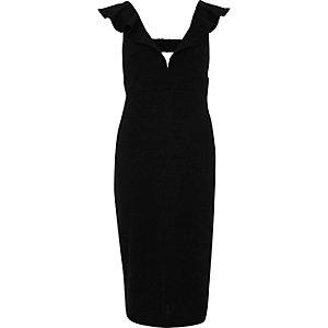 Black frill shoulder plunge bodycon dress