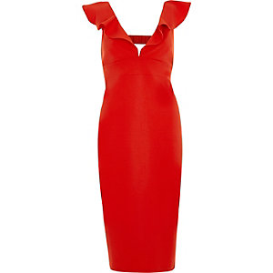 Red frill front plunge bodycon midi dress