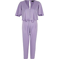 Light purple satin cape tapered jumpsuit