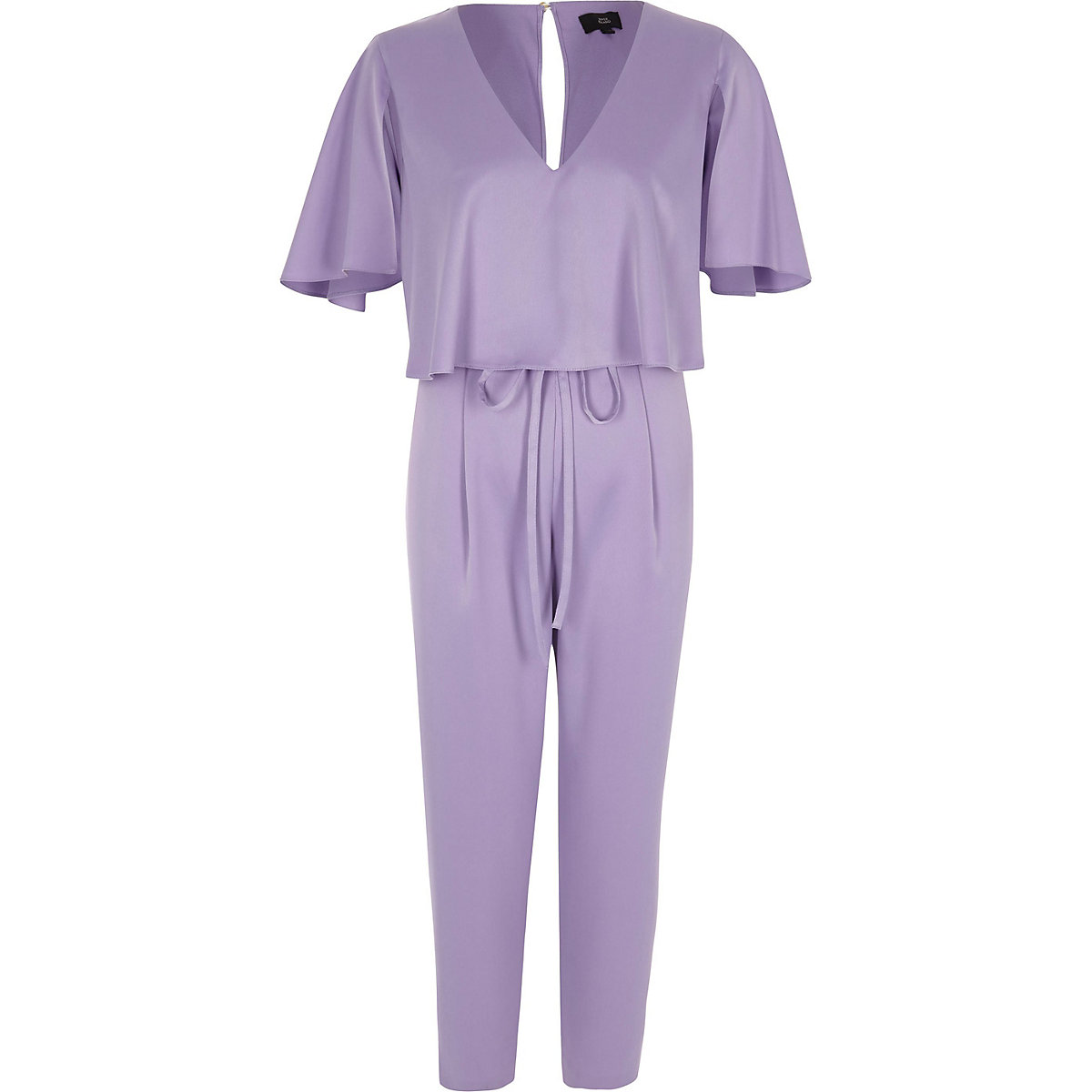 Light purple satin cape tapered jumpsuit