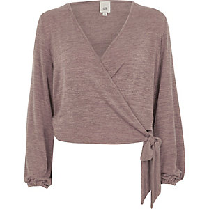 Brown knit wrap ballet cardigan